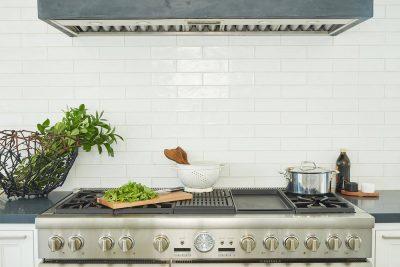 stove with subway tile backsplash