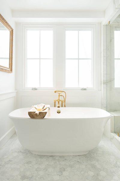 bathroom with modern soaker tub