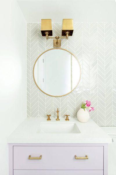 bathroom design with circular miror