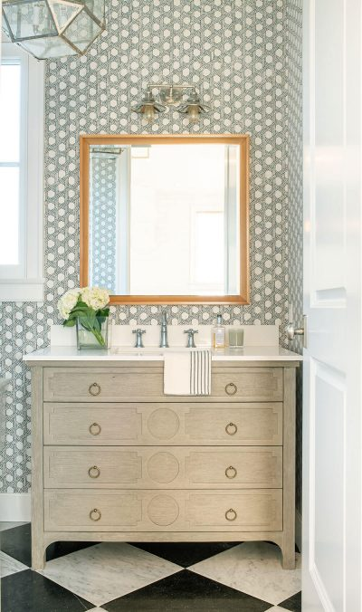 bathroom with square mirror